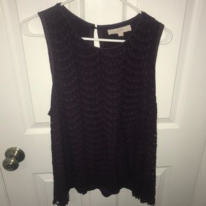 Dark Purple Lacy Blouse Tank